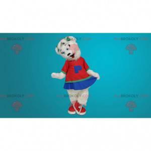 Weißes Bärenmaskottchen als Cheerleader verkleidet -