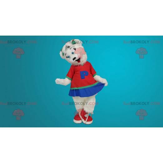 Maskot bílého medvěda oblečený jako roztleskávačka -