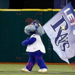 Mascote do Team Rays cachorro azul e cinza todo peludo -