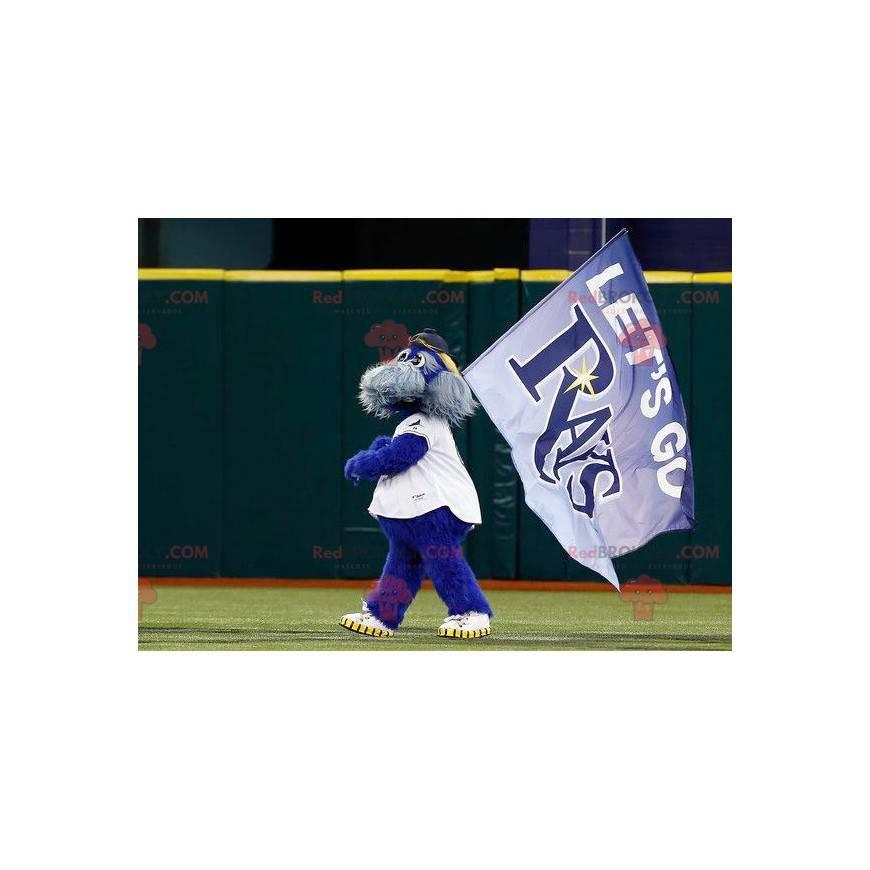 Team Rays maskot modrý a šedý pes chlupatý - Redbrokoly.com