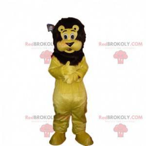 Gelbes und schwarzes Löwenmaskottchen, Plüschlöwenkostüm -