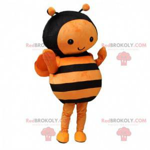 Orange and black bee mascot, flying insect costume -