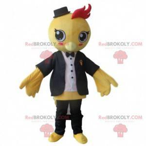 Maskot oboustranných ptáků, velký kostým žlutého ptáka -