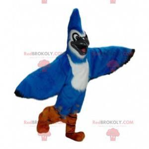 Blue jay maskot, blå og hvit fugledrakt - Redbrokoly.com