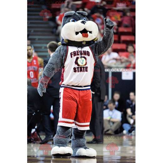 Gray bulldog dog mascot - Redbrokoly.com