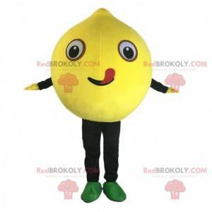 Riesiges gelbes Zitronenmaskottchen, gelbes Fruchtkostüm -