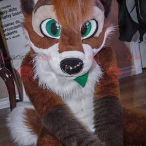Mascote raposa cachorro marrom e branco - Redbrokoly.com