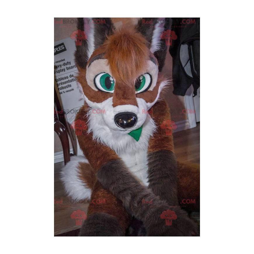 Hnědý a bílý pes liška maskot - Redbrokoly.com