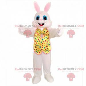 Weißes Kaninchenmaskottchen mit festlichem Outfit. Festlicher