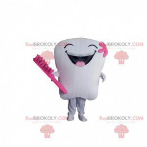 Giant white and pink tooth mascot, tooth costume -
