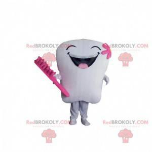 Obří bílý a růžový maskot zubu, kostým zubu - Redbrokoly.com