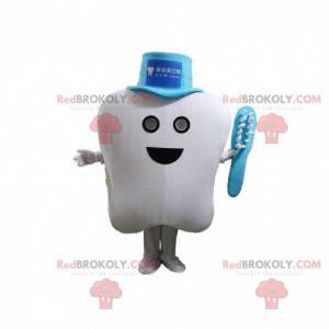 White tooth mascot with a hat and a toothbrush - Redbrokoly.com