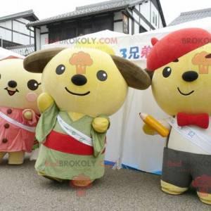 3 mascotte giapponesi dell'orsacchiotto del fumetto -