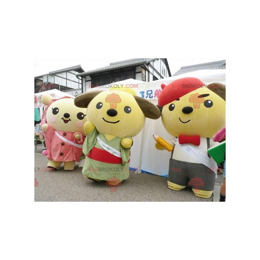 3 Japanese cartoon teddy bear mascots - Redbrokoly.com