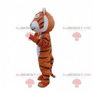 Orange, weißes und schwarzes Tigermaskottchen, Katzenkostüm -