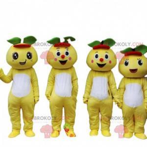 4 maskotki grejpfrutów, 4 kostiumy żółtych owoców -