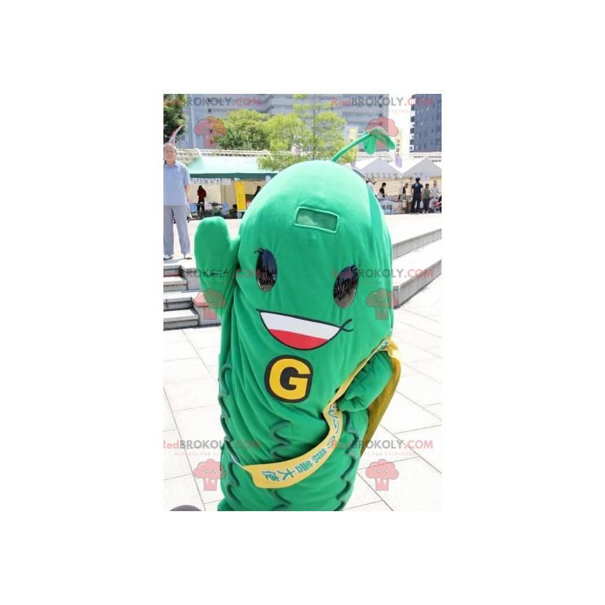Grüne Bohnen Maskottchen grüne Gemüsegurke - Redbrokoly.com