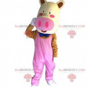 Maskot prasete oblečený, kostým obří růžové prase -