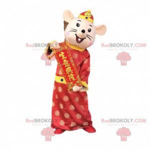 Mysz maskotka ubrana w azjatycki strój, świąteczna maskotka -