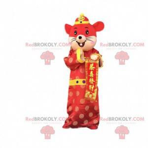 Maskot červené a žluté myši v asijském oblečení - Redbrokoly.com