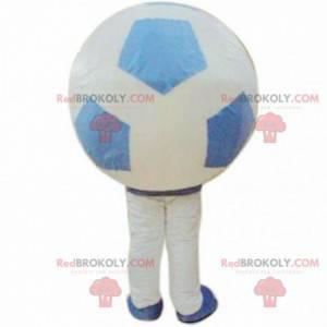 Weißes und blaues Ballonmaskottchen, Riese, Ballonkostüm -