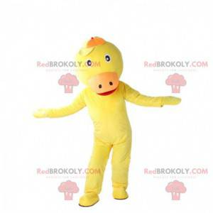 Yellow and orange duck mascot, giant canary costume -