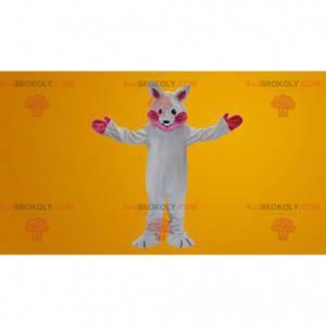 Wit en roze konijn mascotte - Redbrokoly.com