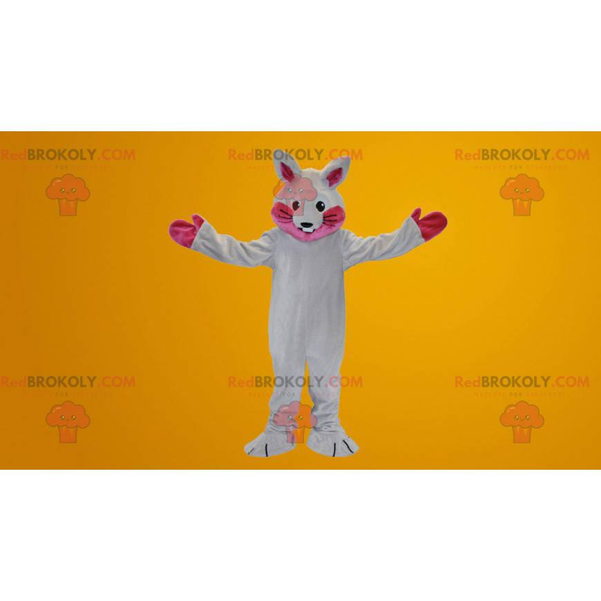 Biały i różowy królik maskotka - Redbrokoly.com