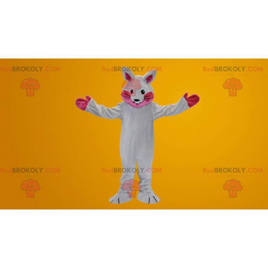 Weißes und rosa Kaninchenmaskottchen - Redbrokoly.com