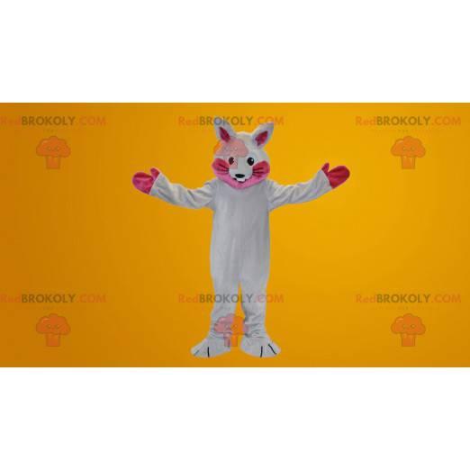 Mascotte de lapin blanc et rose - Redbrokoly.com