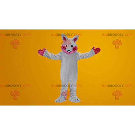 White and pink rabbit mascot - Redbrokoly.com