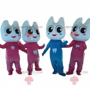 4 maskoti obřích zubů, 1 modrý a 3 růžoví - Redbrokoly.com