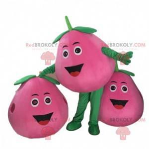 Maskot růžová broskev, obří hruškový kostým, růžové ovoce -