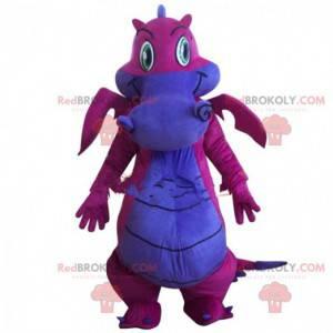 Pink and purple dragon mascot, dinosaur costume - Redbrokoly.com
