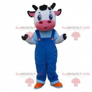 Maskot bílá a černá kráva s montérkami - Redbrokoly.com