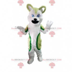 Green and white husky dog mascot, wolf dog costume -