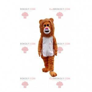 Brown lion mascot looking sad, feline costume - Redbrokoly.com