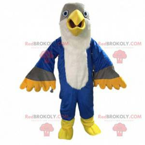 Čtyřbarevný maskot orla, velký barevný kostým ptáka -