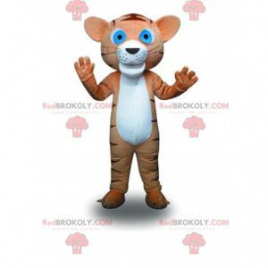 Mascot small brown and white tiger, feline costume -