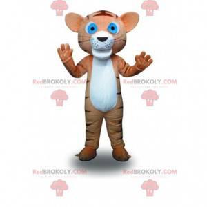 Maskotka mały brązowy i biały tygrys, kostium kota -