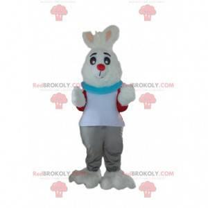 Maskot bílý králík oblečený, kostým plyšového zajíčka -