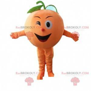 Riesiges und lächelndes orange Maskottchen, Fruchtkostüm -