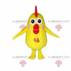 Maskot žlutého ptáka, kanárský kostým, kuřecí kostým -