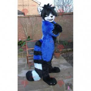 Blaues weißes und schwarzes Katzenmaskottchen - Redbrokoly.com