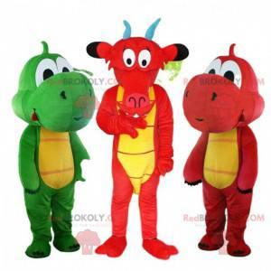 3 berühmte Drachenmaskottchen, bunte Drachenkostüme -