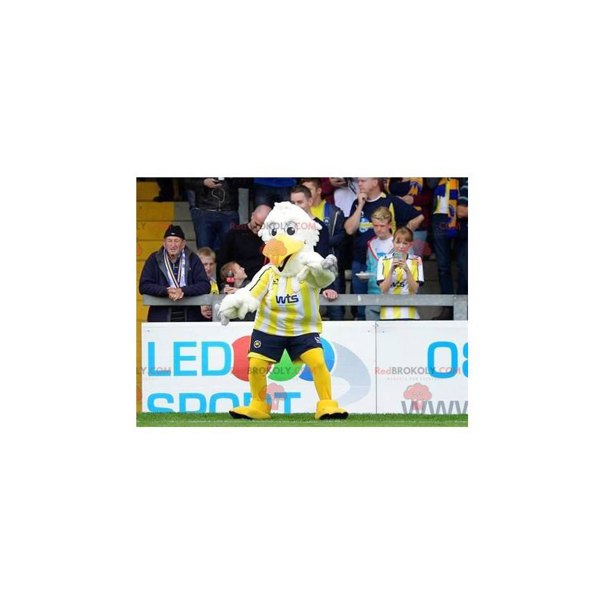 Weißes und gelbes Vogelmaskottchen - Redbrokoly.com