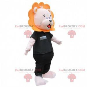 Lion mascot with glasses and black clothes - Redbrokoly.com
