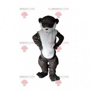 Brązowo-biała wydra maskotka, kostium rzeki - Redbrokoly.com