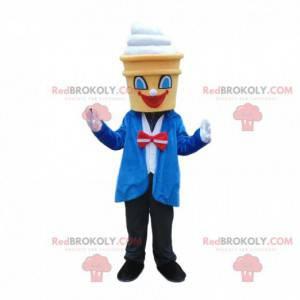 Elegantně oblečený zmrzlinový maskot, kostým kužel -