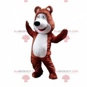 Hnědý a bílý maskot medvídka, kostým medvídka - Redbrokoly.com
